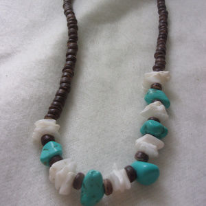 Other - Turquoise and white and brown bead shell necklace